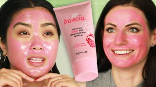 Women Try Boscia's Pink Charcoal Peel-Off Mask