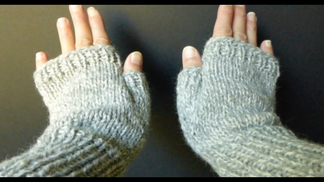 Basic Gloves Knitting Pattern : WATCH How To KNIT Basic Fingerless Gloves (Adult Sm/Med size) 4 Advanced Begi...