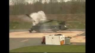 Chinook CH-47 Helicopter Ground Resonance Test and Self Destructs with Rear Tandem Rotor Breaking