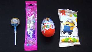 Learn Colors with Candy Lollipops Chupa Chups My Little PONY Kinder Surprise Minions