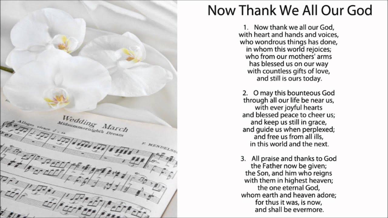 Now Thank We All Our God (w/ Lyrics) - Hymns for Weddings ...