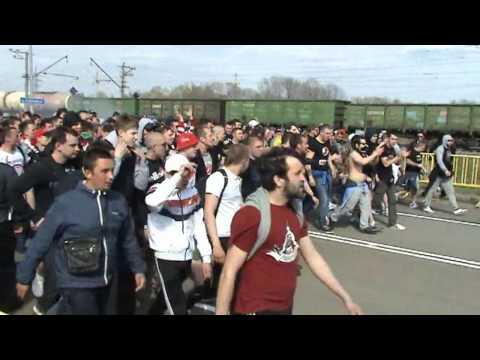 Проход фанатов Спартака в Саранске