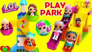 LOL Surprise Dolls and Disney Princess Visit Ice Cream Play Park