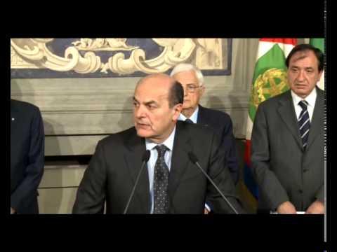 Bersani: accetto con determinazione incarico per governo di cambiamento
