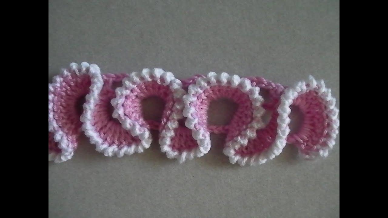 Вязание крючком сетка с рюшами