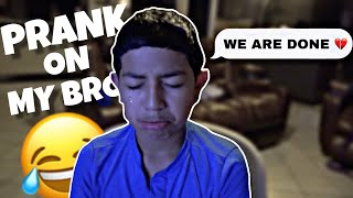 Pranking 11 yr old that his girlfriend broke up with him! 😂 (he cried)