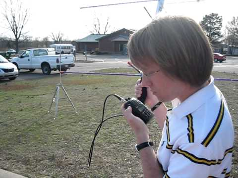 Geoff (KF5HTK) attempting satellite contacts at Hamming in the Park 3-12-2011 Vilonia, AR