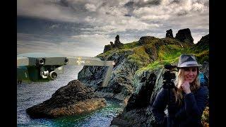 Exploring DJI Mavic old castle ruins over the water Ireland