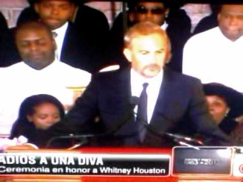 kevin Costner at the Whitney Houston Funeral EN ESPAÑOL 18/02/2012