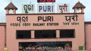LED ticker displaying time at Puri railway station, Odisha