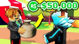 Playing Roblox as a RICH NOOB... and letting people take my robux