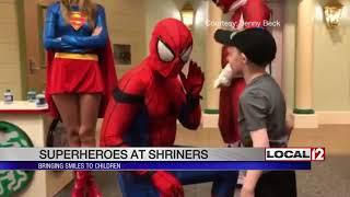 Superheroes visit Shriners Hospital for Children, bring smiles to kids