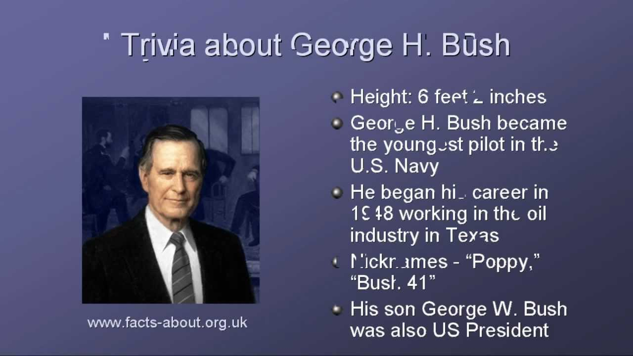President george h bush biography youtube for Fun facts about the presidents