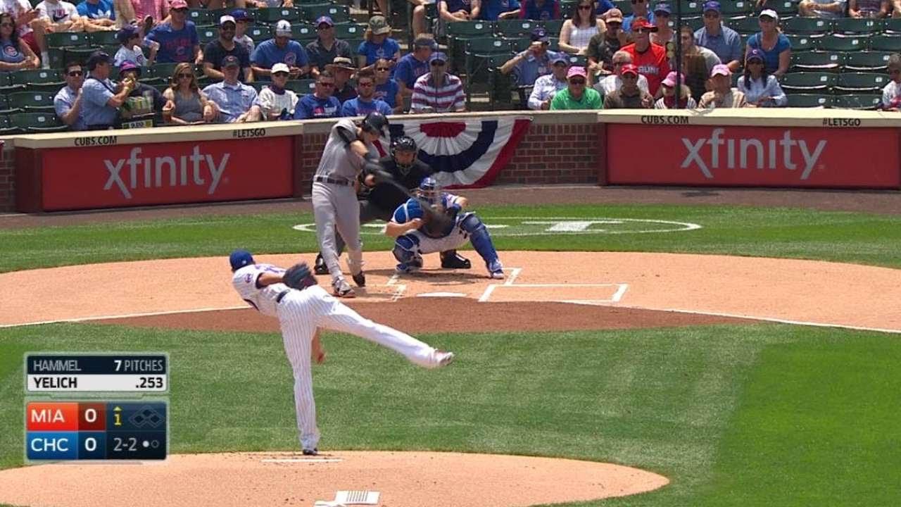 MIA@CHC: Yelich blasts a solo home run to center