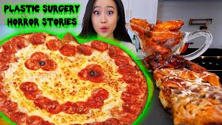 HALLOWEEN SPOOKY PIZZA + SPICY WINGS MUKBANG