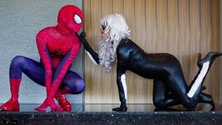 Spiderman Captain America vs Joker and Catwoman in Real Life Fun Fight