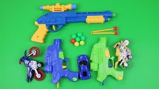toy guns toys-motorbikes vedio for kids box of toy with lots of surprising colored toys