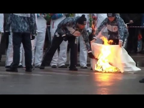 В Самаре сгорел Олимпийский факел