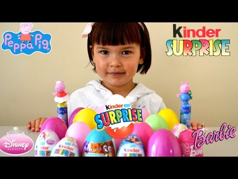 Peppa Pig Barbie Disney Princess Hello Kitty Hot Wheel Kinder Surprise Eggs Surprise Toys Unboxing