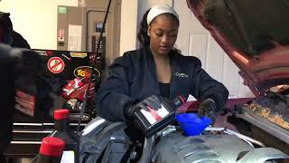 Oil change on Nissan Sentra (teaching girlfriend how to change oil)