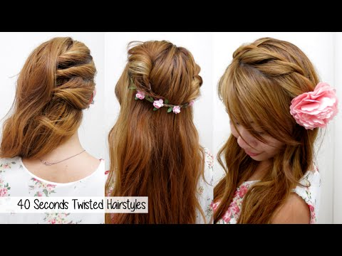 40 Seconds Twisted Hairstyles (TIMED!) l Quick, Cute & Easy Back-to ...