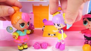 LOL Surprise Dolls + Lil Sisters in Fake Toy School and Baby Strollers