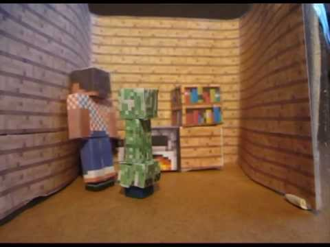 Minecraft papercraft a creeper at home youtube for Paper craft home