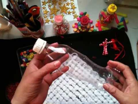 Como adornar una botella de plastico