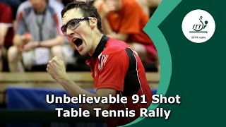 Unbelievable 91 Shot Table Tennis Rally