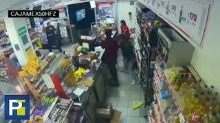 Pistola en mano, un policía frustró el asalto de dos ladrones en una tienda de México