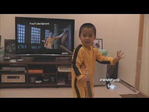 Little fist Of Fury | Young Kid Imitates Bruce Lee's Nunchaku Moves video