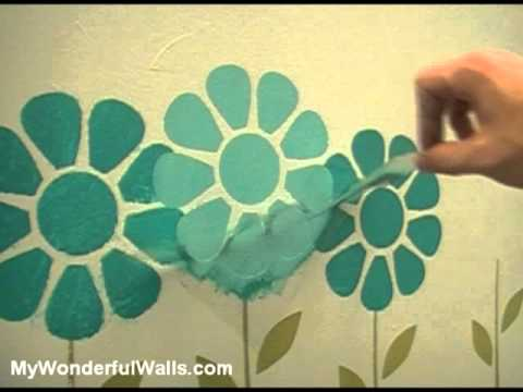 Girls Room Flower Garden Makeover - Wall Stencils