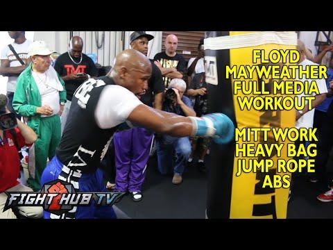 Mayweather vs Maidana 2 Floyd Mayweather full workout Mitts speed bad heavy bag