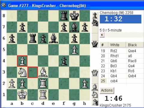 Chess World.net: Blitz #167 vs IM Chernobog (2258) - Sicilian Defense : dragon, Levenfish (B71)