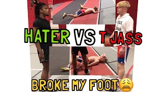 I BROKE MY FOOT PLAYING 1 ON 1 VS HATER???