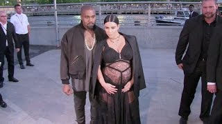 Most Outrageous Pregnancy Look EVER !!! Kim Kardashian at the GIVENCHY Fashion show in New York City