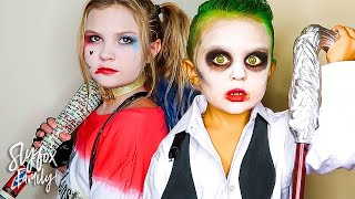 KIDS BECOME REAL LIFE SQUAD HARLEY QUINN AND THE JOKER DRESS UP!! | Slyfox Family