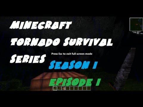 Minecraft Tornado Survival (Season 1; Episode 1) - Our First Tornado an F5?!?