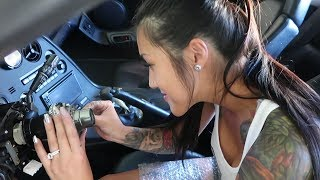 Amanda Installs a Steering Wheel on her Supra || DIY Steering wheel