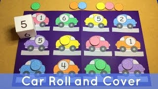 Car Roll and Cover - Preschool File Folder Game For Math Centers