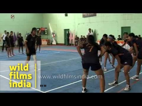 Kabaddi players in full action