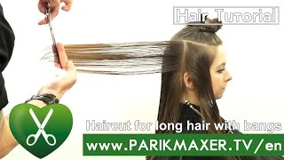Haircut for long hair with bangs. parikmaxer TV USA