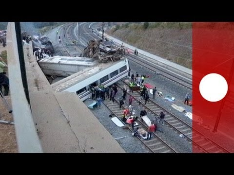 Moment of Spain train crash in Santiago de Compostela seen on security video