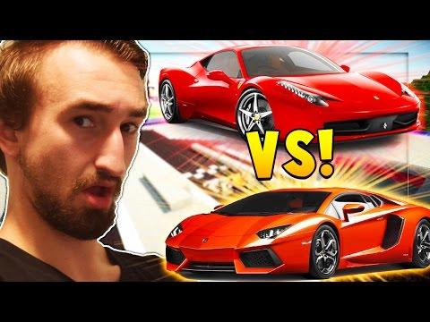 Ferarri Mod vs Lamborghini Mod (Flans Mod Battle) Modded Race - Minecraft Mods