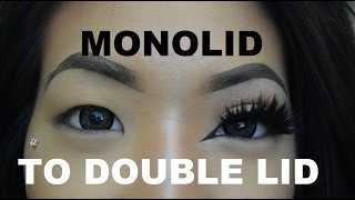 Monolid to double eyelid with fake eyelashes tutorial!