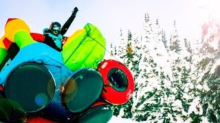 Bouncy House Sledding Down Mountain! 50 MPH!!