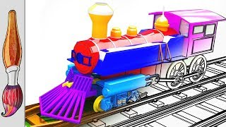 Coloring colorful TRAIN | learn colors with TRAIN & mcqueen car | how to draw TRAIN