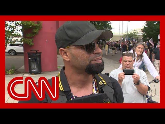 CNN reporter presses far-right rally leader in Portland thumbnail