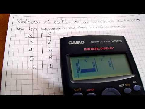 Calcular Coeficiente de Correlación de Pearson con calculadora CASIO  FX-350ES