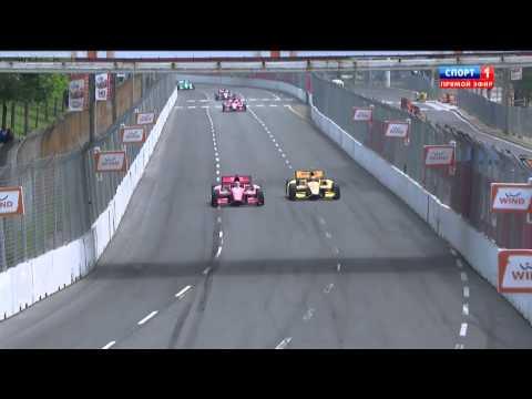 Verizon IndyCar 2014. Toronto. Ryan Hunter-Reay and Tony Kanaan Contact